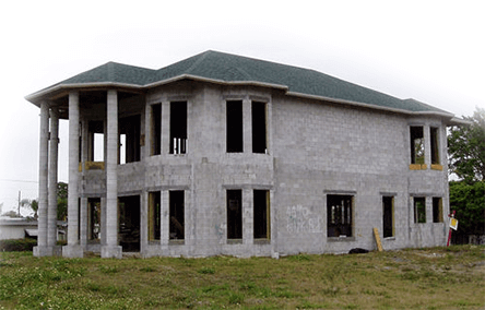Casa feita com blocos de alvenaria estrutural