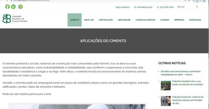 Artigo sobre aplicações do cimento na ABCP